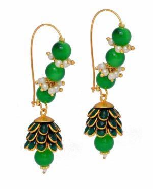 paachi jhumki,rajasthani earrings,kundan jhumki