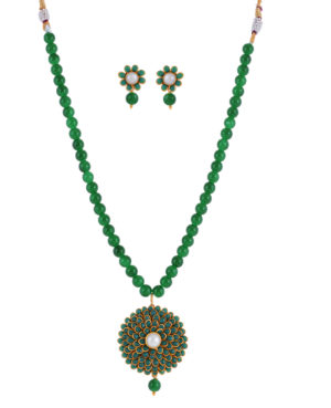 pachi Flower pendent and Earrings Set,Rajasthani jewellery set,beaded pendent set