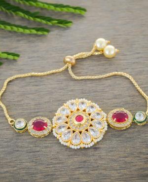Designer kundan bracelet rakhi