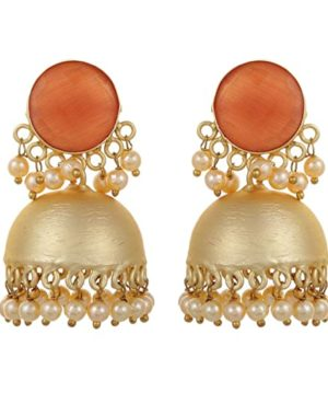 kundan matt gold jhumka earrings