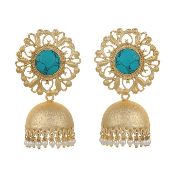 Turquise stone Matt gold kundan jhumka earrings