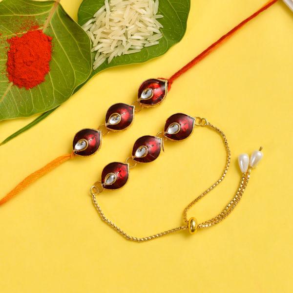 Bhaiyaa bhabhi Rakhi combo set, kundan rakhi, rakhi combo for bhaiya and bhabhi, rakhi combo set online